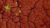 Political Crisis Or Environmental Concept: Mud Cracks With China Flag poster