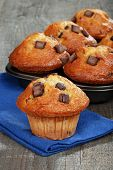 picture of chocolate-chip  - closeup of fresh baked banana chocolate muffins - JPG