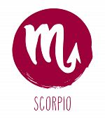 Scorpio Hand Drawn Zodiac Sign. Astrology Design Element. Vector Graphic Illustration In Red Freefor poster