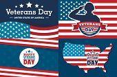 Veterans Day Banner Set. Flat Illustration Of Veterans Day Banner Set For Web Design poster