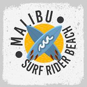 Malibu Surf Rider Beach California Surfing Surf Design With A Surfboards  Logo Sign Label For Promot poster