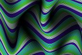 Wavy Lines With Gradient. Trendy Abstract Background With A Distorted Striped Surface. Futuristic Te poster