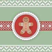 stock photo of christmas cookie  - Beautiful Retro Christmas Card with Gingerbread Man - JPG