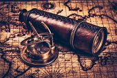 Travel geography navigation concept background - old vintage retro compass on ancient world map poster
