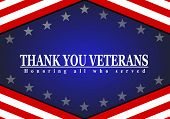 Veterans Day With American Flag, Thank You Veterans Text poster