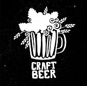 Craft Beer Hand Drawn Element For Poster. Outline White And Black Icon Of Craft Beer. Craft Beer Inf poster