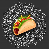 Tortilla Burritos Wrap Vector Cartoon Illustration. Mexican Burritos With French Fries And Vegetable poster