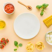Food Cooking Background Concept. Flat Lay Of Italian Kitchen Ingredients On Bright Background. Cooki poster