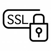 Ssl Security Line Icon. Certificate Protected Vector Illustration Isolated On White. Ssl Secure And  poster