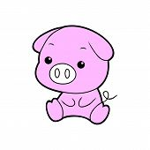 Cute Pig. Cheerful Pig. Funny Pig Vector. Domestic Isolated Mammal, Agriculture Cute Pink Pig And Pi poster