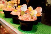 Japanese Fresh And Raw Food (tuna Sashimi) In Black Bowl For Sale At Kuromon Street Market, Osaka, J poster