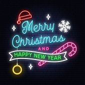 Merry Christmas And Happy New Year Neon Sign With Snowflakes, Hanging Christmas Ball, Santa Hat, Can poster