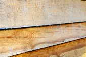 Treated Wood Antiseptic, A Means Of Protection. Painted Wooden Boards To Dry. poster