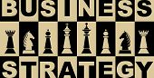 Business Strategy Banner In Black And Beige Design With Chess Pieces, Chessboard With Inverse Letter poster