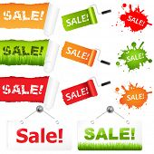 Sale Elements, Isolated On White Background, Vector Illustration