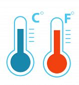 Flat Celsius And Fahrenheit Thermometers Cold And Heat Temperature Icon Vector Isolated poster