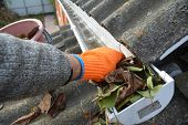 Rain Gutter Cleaning From Leaves In Autumn With Hand. Roof Gutter Cleaning Gutter Cleaning. poster
