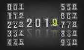 Vector Illustration Of 2019 New Year Banner Template With Flip Mechanical Timetable In Movement. poster
