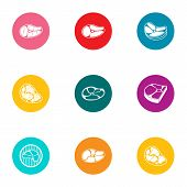 Piece Of Meat Icons Set. Flat Set Of 9 Piece Of Meat Icons For Web Isolated On White Background poster