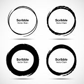 Hand Drawn Circle Brush Sketch Set. Grunge Doodle Scribble Round Circles For Message Note Mark Desig poster