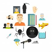 Phobia Symbols Icons Set In Flat Style Isolated Illustration poster