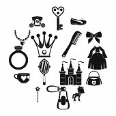 Doll Princess Items Icons Set. Simple Illustration Of 16 Doll Princess Items Icons For Web poster