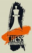 Chess Tournament Typographical Vintage Stencil Grunge Style Poster. Retro Vector Illustration. poster
