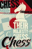Chess Tournament Typographical Vintage Grunge Style Poster. Retro Vector Illustration. poster