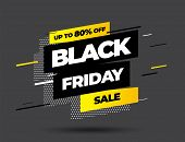 Black Friday Sale Inscription Design Template. Black Friday Banner. Vector Illustration. poster