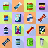 Protein Sport Nutrition Containers Icons Set. Flat Illustration Of 16 Sport Nutrition Containers Ico poster