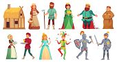 Medieval Historical Characters. Historic Royal Court Alcazar Knights, Medieval Peasant And King Isol poster
