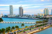 Miami Panorama With Car Traffic. Aerial View Miami Cityscape. Miami Skyline. Miami City Scape In Day poster