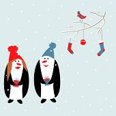 Cute Penguin Boy And Girl In A Blue And Red Hats With Gifts.sprig With A Bird,christmas Socks And A  poster