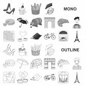 Country France Monochrom Icons In Set Collection For Design. France And Landmark Vector Symbol Stock poster