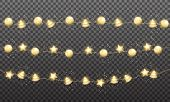 Christmas Garlands. Gold Shiny Balls Lights. Xmas Festive Gold Metallic Decoration. poster