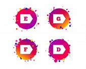 Energy Efficiency Class Icons. Energy Consumption Sign Symbols. Class D, E, F And G. Gradient Circle poster