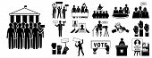 Political Meeting Icon Set. Simple Set Of Political Meeting Vector Icons For Web Design On White Bac poster