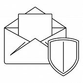 Secured Mail Icon. Outline Illustration Of Secured Mail Vector Icon For Web Design Isolated On White poster