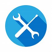 Screwdriver Spanner Icon With Long Shadow. Elements Of Constraction Icon With Long Shadow. Signs And poster