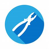 Pliers Icon With Long Shadow. Elements Of Constraction Icon With Long Shadow. Signs And Symbols Coll poster