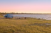 picture of campervan  - a camper on lake bonney at sunset - JPG