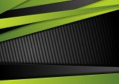 Tech Black Background With Contrast Bright Green Stripes. Abstract Vector Graphic Brochure Corporate poster