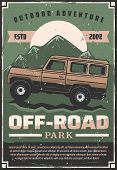 Off-road Travel Adventure Or Car Extreme Sport Club Retro Poster. Vector Vintage Design Of Pickup Of poster