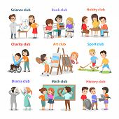 Set Of Different Clubs For School Children Card Isolated On White, Vector Illustration Of Art Math S poster