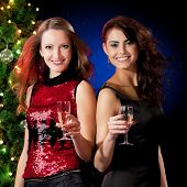 pic of sissy  - Christmas women with glasses of champagne near a Christmas tree - JPG