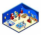 Isometric People Resting In Cross Section Recreation Room With Entertainment And Amusements - Table  poster