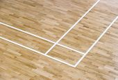 Wooden Floor Volleyball, Basketball, Badminton Court With Light Effect Wooden Floor Of Sports Hall W poster