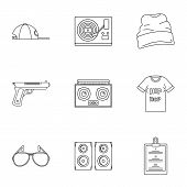 Rap Icon Set. Outline Set Of 9 Rap Icons For Web Design Isolated On White Background poster