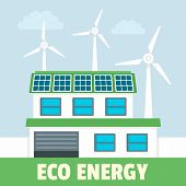 Smart Eco Energy Concept Background. Flat Illustration Of Smart Eco Energy Concept Background For We poster