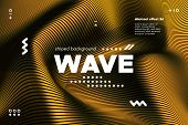 Gold Abstract Banner With Ripple Effect. Linear Background With Movement. 3d Striped Poster With Dis poster